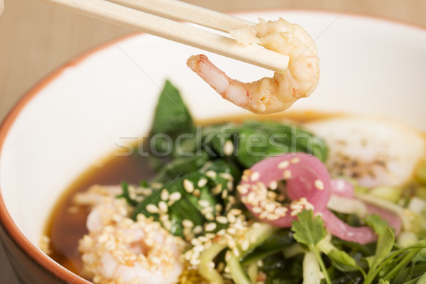 Bowl with hot broth, shrimp and egg Stock photo © vetdoctor