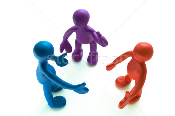 Look on talking plasticine puppets on white background Stock photo © vetdoctor