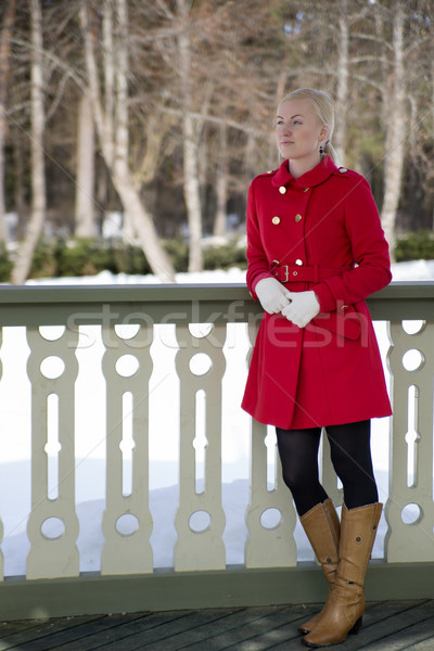 Good picture of woman iat terrace Stock photo © vetdoctor