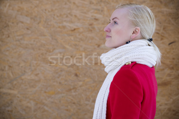 Woman face profile with white woven scarf Stock photo © vetdoctor