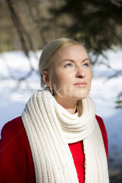 Young woman warming face under sunlight Stock photo © vetdoctor