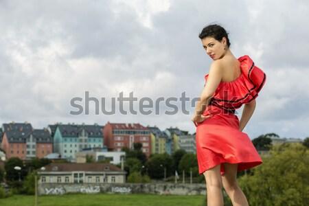Nő szép ruha pózol lépcsősor perem Stock fotó © vetdoctor