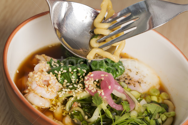 Bowl with broth, shrimp and  fesh vegetables Stock photo © vetdoctor