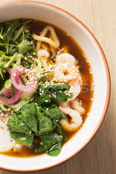 Bowl with broth and boiled noodle Stock photo © vetdoctor