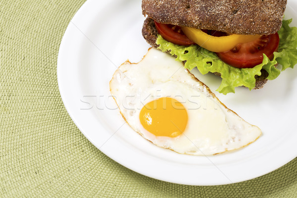 Sandwich with vegetables with baked hen egg Stock photo © vetdoctor