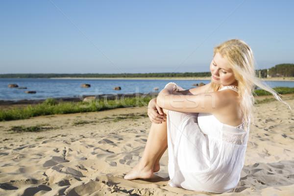 Woman in white dress feeling wind flow Stock photo © vetdoctor
