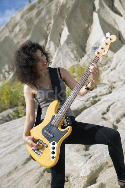Ver mulher guitarra modelo verão retrato Foto stock © vetdoctor