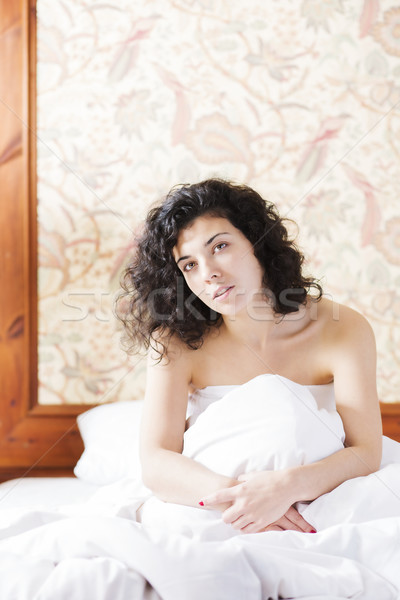 Woman is thinks in bed after night Stock photo © vetdoctor