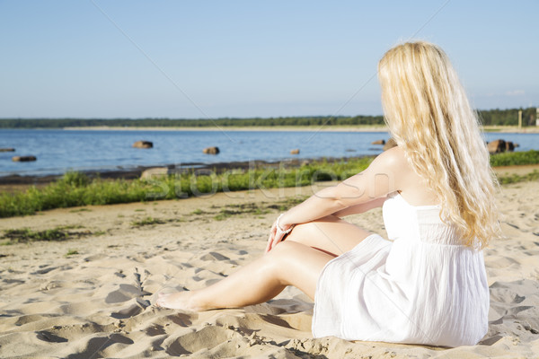 Woman in white dress relax on beach Stock photo © vetdoctor
