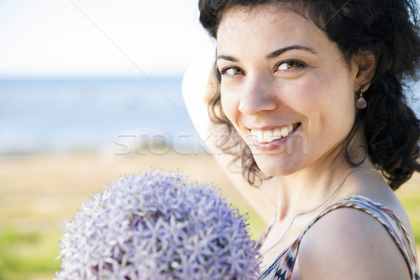 Happy woman with dark hairs posing Stock photo © vetdoctor