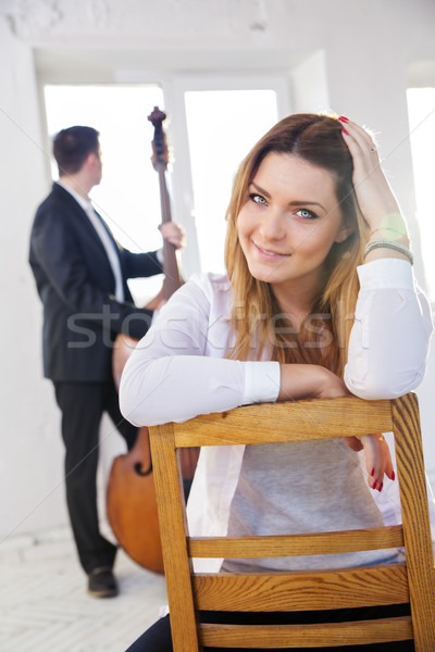 Woman on wooden chair smile on camera Stock photo © vetdoctor