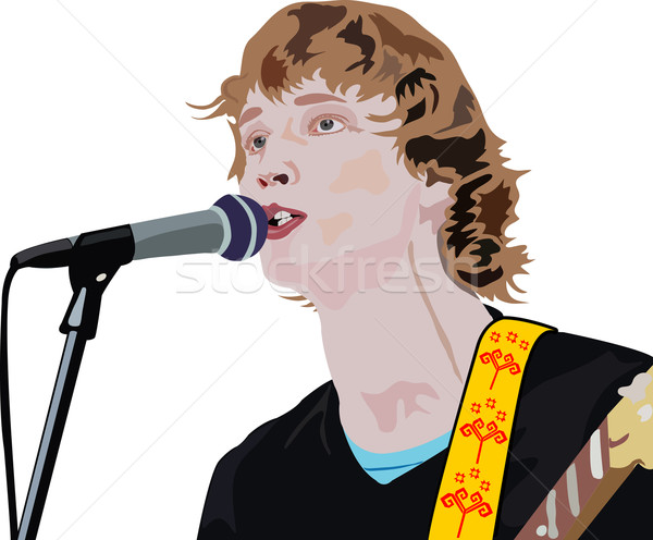 Stock photo: handsome man is singing a song