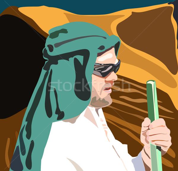 Homem deserto verde viajar África preto Foto stock © vetdoctor