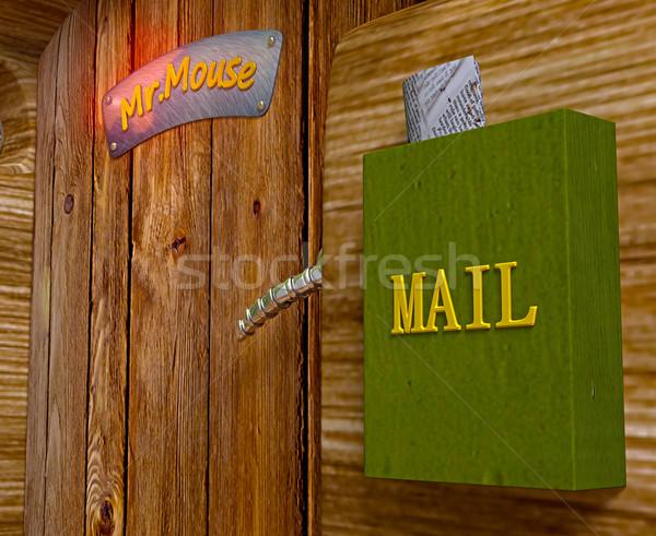 Görmek bay fare ev ahşap kapı Stok fotoğraf © vetdoctor