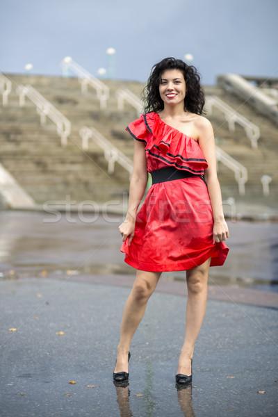 Nő szép nedves ruha modell nyár Stock fotó © vetdoctor