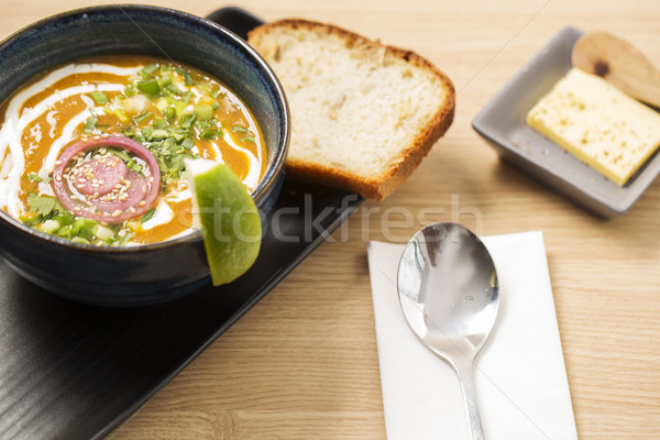 Ceramic bowl with reflective soup Stock photo © vetdoctor