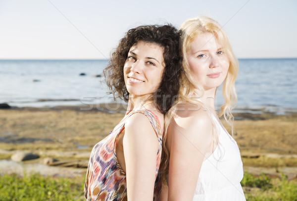 Dois jovem praia silhueta feliz Foto stock © vetdoctor