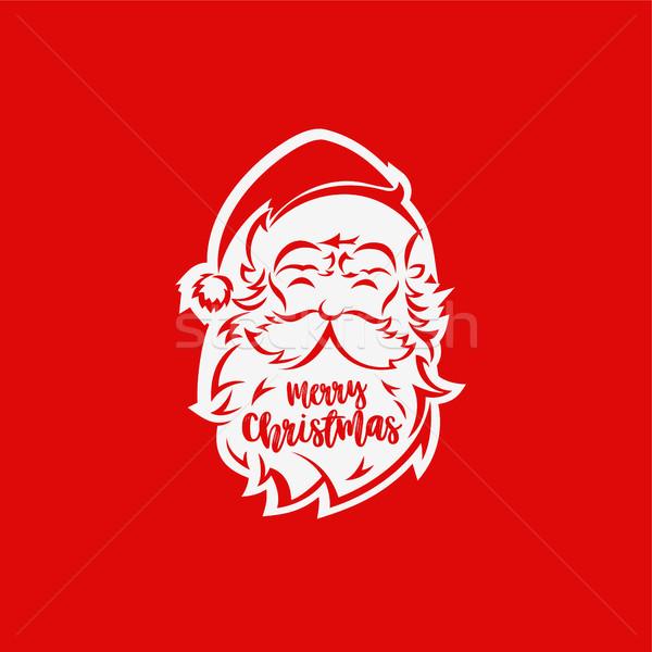 Witte kerstman gezicht Rood typografie ontwerp Stockfoto © Vicasso