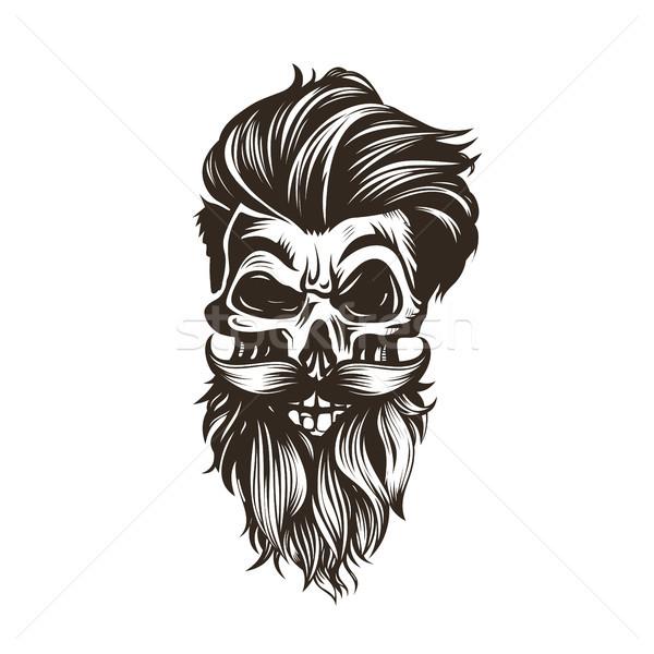 череп прическа борода усы белый дизайна Сток-фото © Vicasso