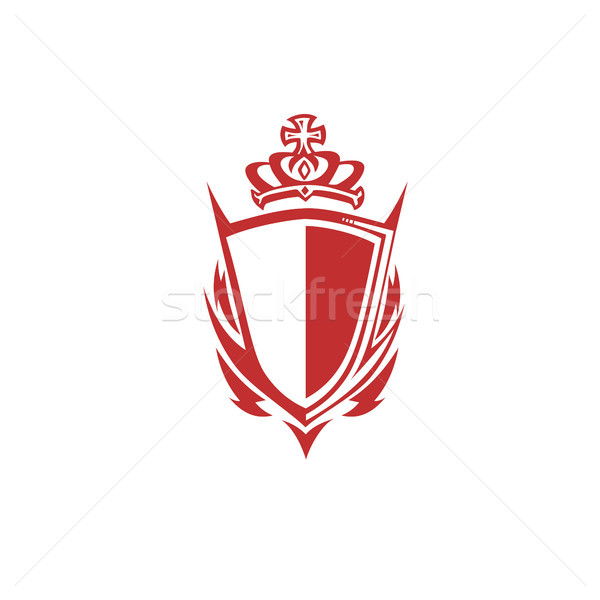 Red shield with crown vector illustration Stock photo © Vicasso
