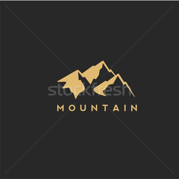 Altın dağ vektör stil siyah orman Stok fotoğraf © Vicasso
