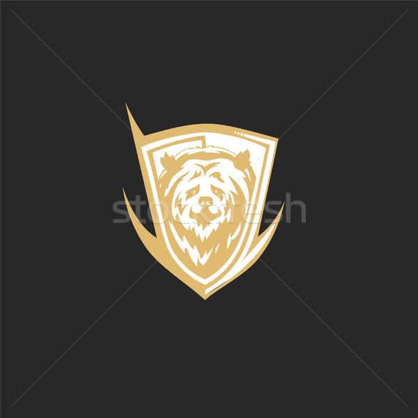 Minimalny logo złoty ponosi czarny tekstury Zdjęcia stock © Vicasso