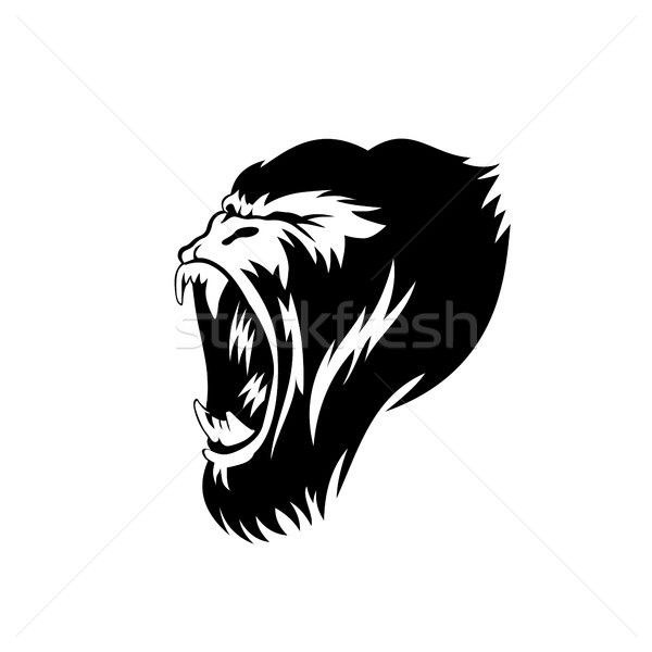 creative gorilla face logo illustration. Stock photo © Vicasso