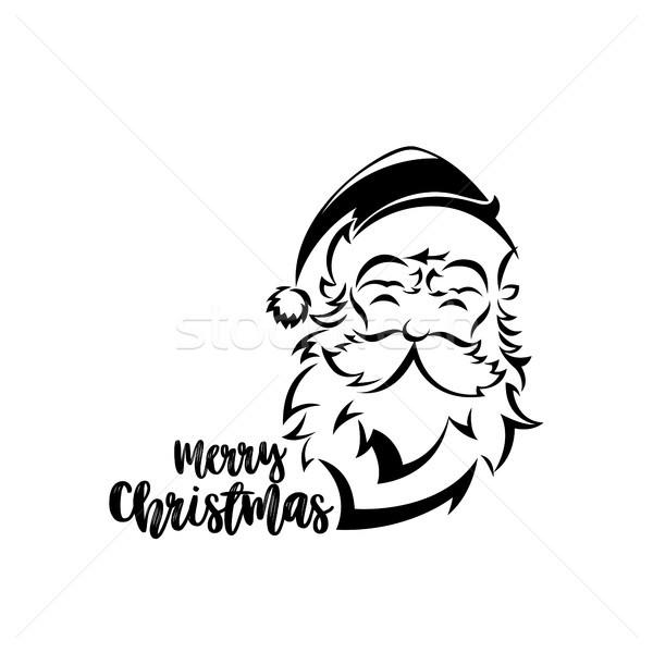 Minimalny logo Święty mikołaj biały typografii projektu Zdjęcia stock © Vicasso