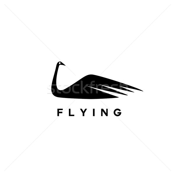 ストックフォト: ロゴ · 白鳥 · デザイン · 黒 · 白