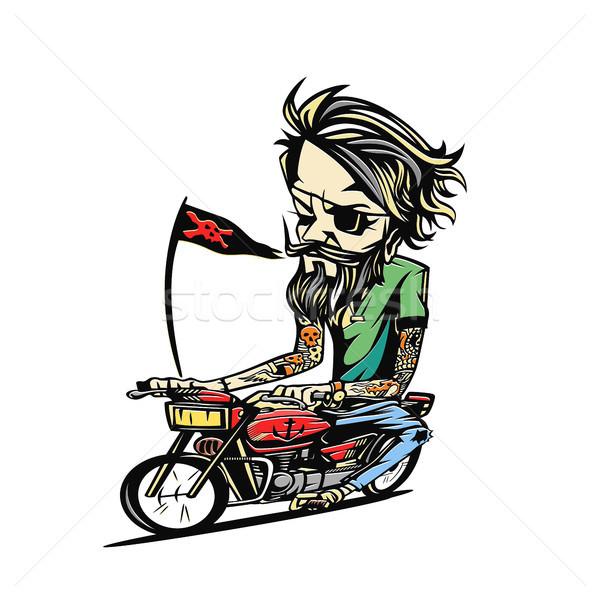 Minimal logo of bike rider vector illustration design. Stock photo © Vicasso