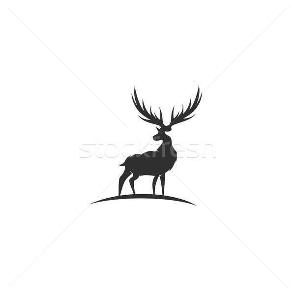 Black deer with great antler vector illustration. Stock photo © Vicasso