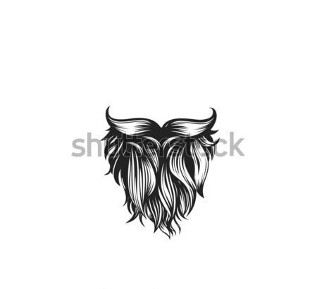 Siyah sakal bıyık beyaz dizayn Stok fotoğraf © Vicasso