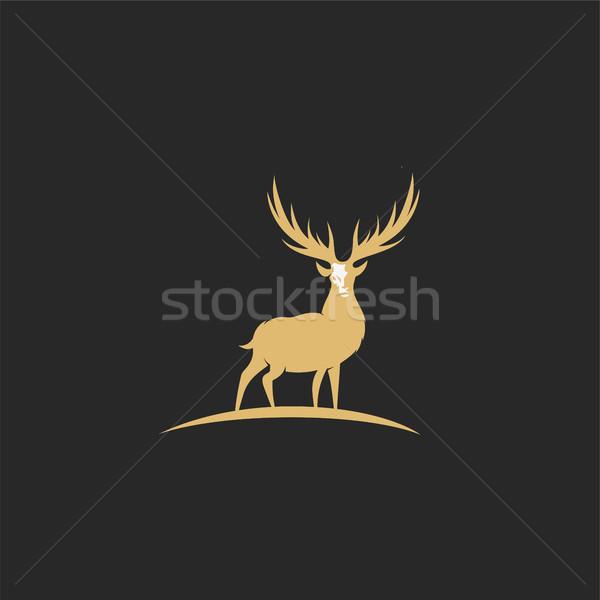 Stock fotó: Minimális · logo · arany · szarvas · fekete · terv
