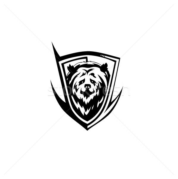 Noir ours icône vecteur blanche main Photo stock © Vicasso