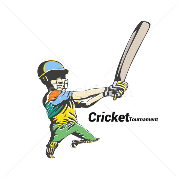 colorful cricket player hit the big ball vector illustration. Stock photo © Vicasso