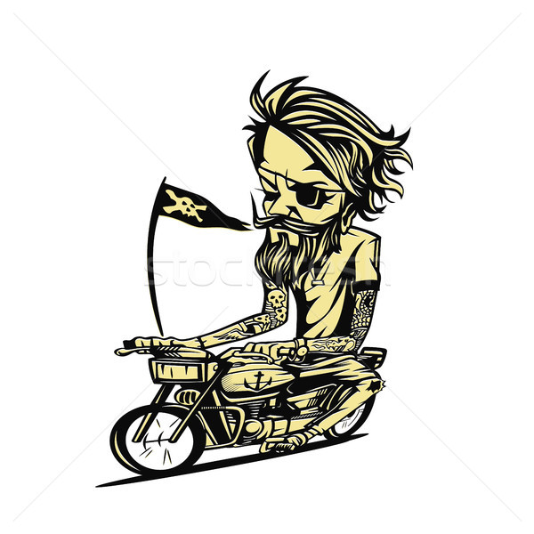Yellowish bike rider vector illustration. Stock photo © Vicasso