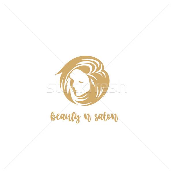 Altın güzellik salonu logo kadın yüz beyaz Stok fotoğraf © Vicasso