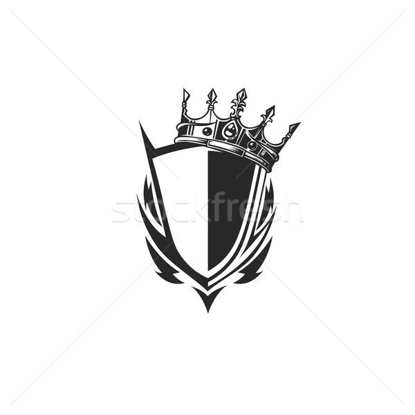 Kalkan logo taç siyah beyaz beyaz geri Stok fotoğraf © Vicasso