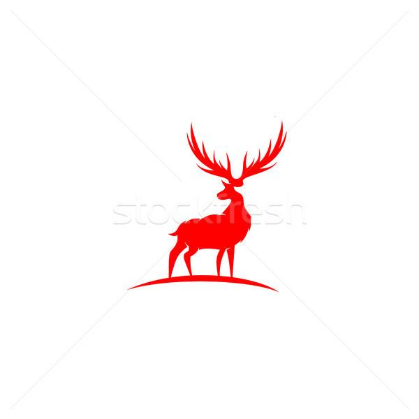 Vermelho veado ilustração branco vetor feliz Foto stock © Vicasso