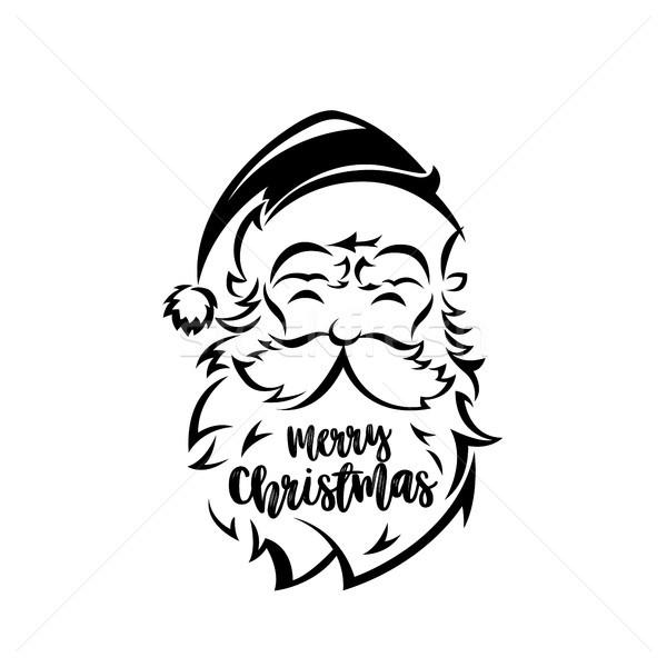 Noel baba yüz beyaz dizayn gülümseme adam Stok fotoğraf © Vicasso