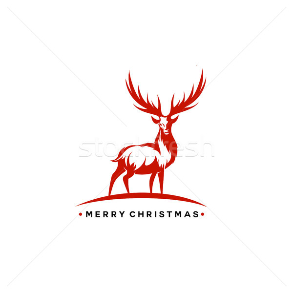 Christmas deer vector illustration. Stock photo © Vicasso