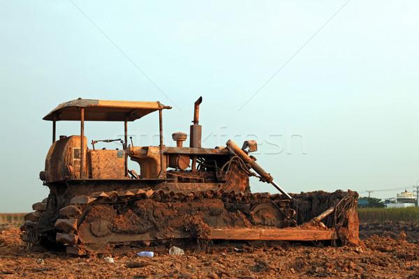 строительство бульдозер песок промышленности рабочих облаке Сток-фото © vichie81