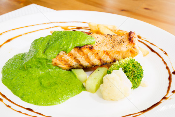 grilled salmon pesto Stock photo © vichie81