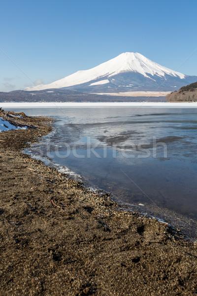 Monte Fuji ghiacciato lago inverno cielo acqua Foto d'archivio © vichie81