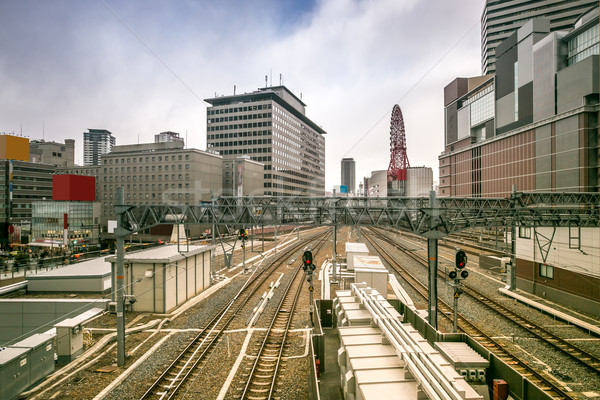 Osaka tren istasyonu Cityscape Japonya ofis şehir Stok fotoğraf © vichie81