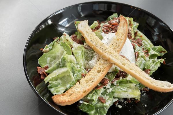 Caesar salade kom groene plantaardige vers schotel Stockfoto © vichie81