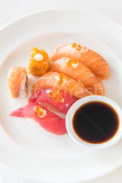 суши набор лосося тунца оранжевый азиатских Сток-фото © vichie81