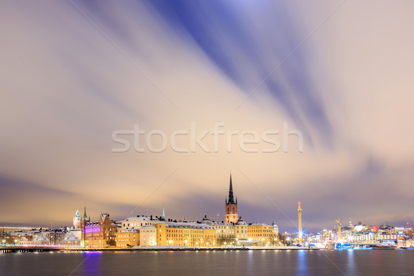 Cityscape Stockholm şehir gece İsveç Bina Stok fotoğraf © vichie81