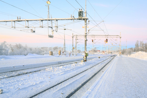 Winter Railroad platform Stock photo © vichie81