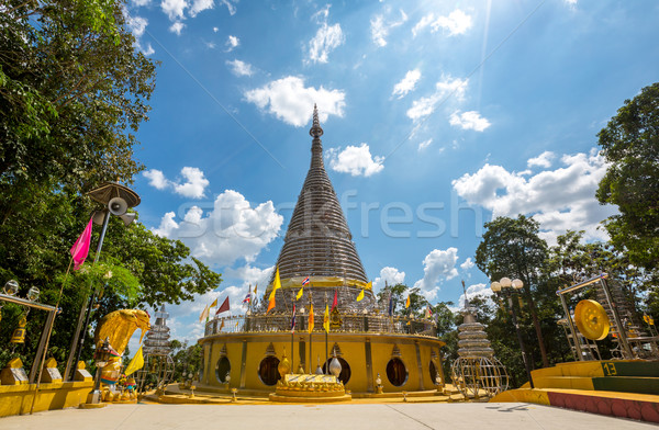 Acier inoxydable pagode Thaïlande chapeau métal religion Photo stock © vichie81